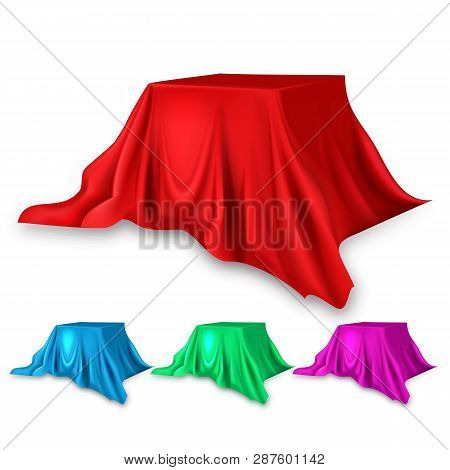 Stage Red Silk Set Vector. Fabric Cloth Waving Shape. For Presentation. Banner, Podium, Stand. Velve