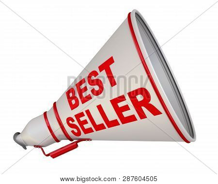 The Horn Labeled With Text Best Seller. Red Text Best Seller On The Gray Horn. Isolated. 3d Illustra