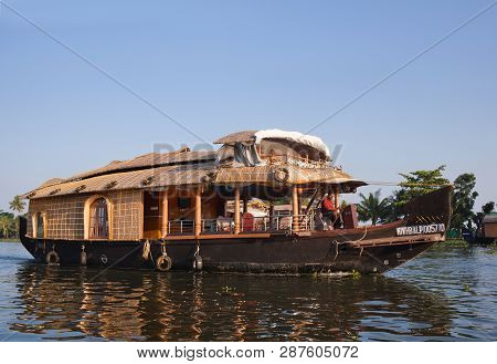Alleppey, India - November 7, 2016: Tourists On Houseboat Floating In Backwaters In Kerala State