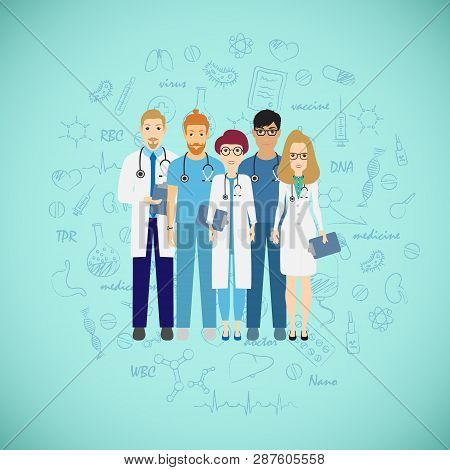 Medicine Team Concept With Different Doctors. Group Of Practitioner Doctors Young Man And Woman Stan