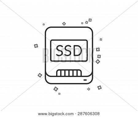 Ssd line icon. Computer memory component sign. Data storage symbol. Geometric shapes. Random cross elements. Linear Ssd icon design. Vector poster