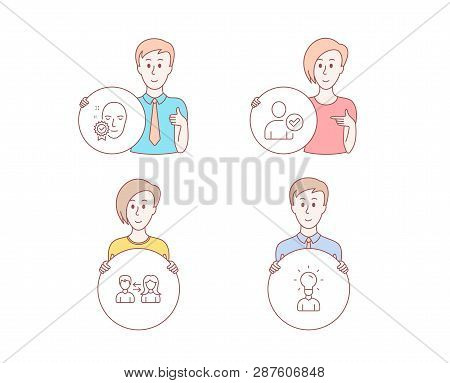 People Hand Drawn Style. Set Of Face Verified, Identity Confirmed And People Communication Icons. Ed