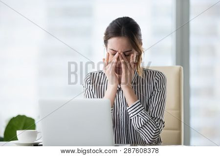 Tired Businesswoman Massaging Eyes Feeling Strain Fatigue Headache Relieving Pain