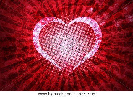 Grunge Heart Lightrays Background
