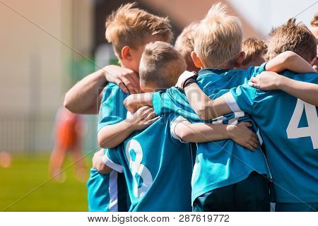 Children Team Sport. Kids Play Sports Game. Children Sporty Team United Ready To Play Game. Youth Sp