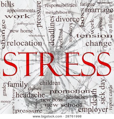 Stress Shattered Glass Word Cloud Concept