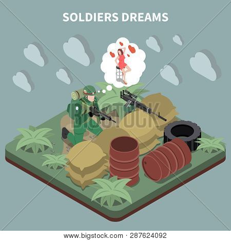Soldiers Dreams Isometric Composition With Sniper Sitting In Entrenchment And Remembering His Girlfr