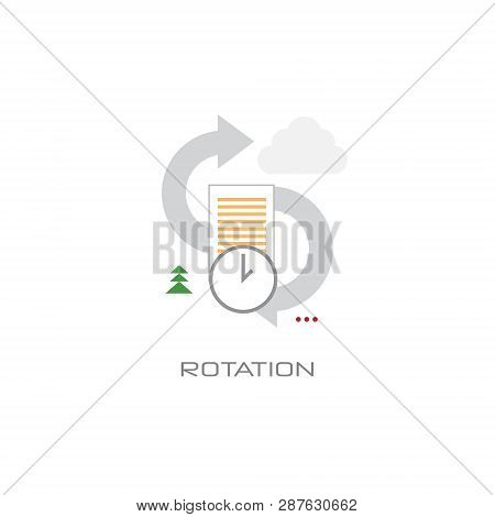 Staff Turnover Rotation Arrows Responsibility Interchangeability Concept Line Style White Background