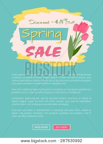 Spring Sale, Discount 45 Percent Off, Webpage Decorated By Pink Tulips, Shopping Online. Website Wit