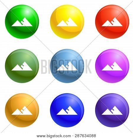 Hight Political Target Icons Vector 9 Color Set Isolated On White Background For Any Web Design