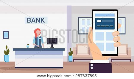 Human Using Banking Mobile Application Specialist At Reception Counter Financial Consulting Center R