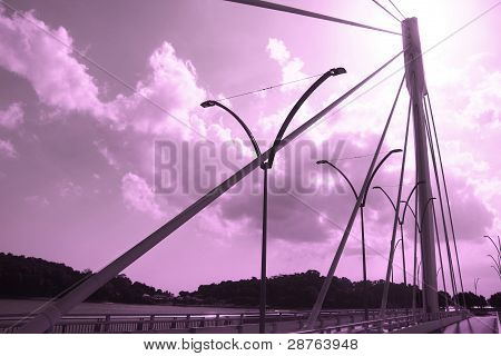 purple sky and bridge