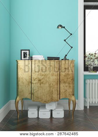 Interior of modern living room with commode 3D rendering