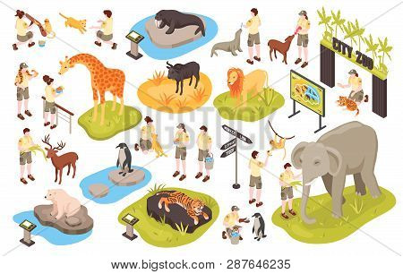 Isometric Zoo Set With Isolated Images Of Animals Human Characters Of Personnel And Animal Park Item