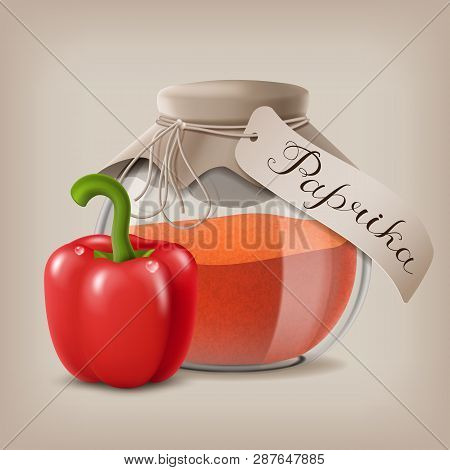 Ground Red Pepper In A Glass Jar And The Fruit Of The Paprika. Vector Illustration