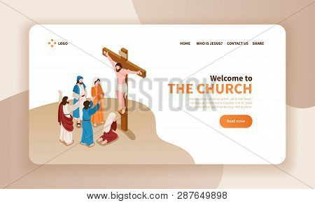 Isometric Bible Narratives Horizontal Banner Landing Page Website Design With Text Christ Crucified