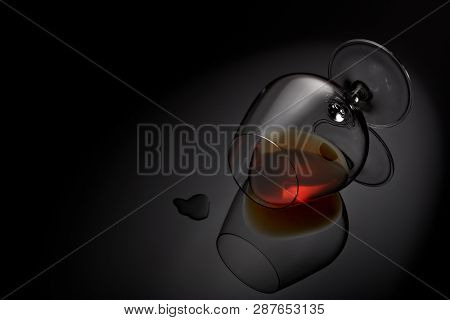 Snifter glass with cognac (brandy snifter, brandy bowl, cognac glass, or balloon) lying on a black background with reflection. Glassware for aged brown spirits. Contour with gradient and highlights