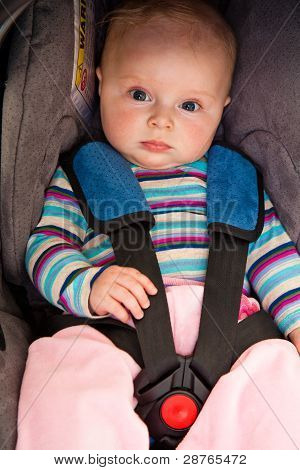 Infant child sitting in car seat isolated on white poster