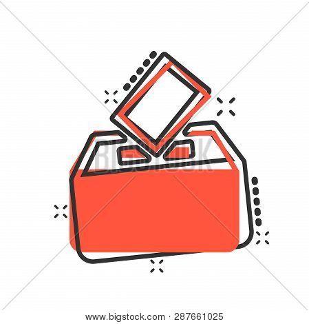Election Voter Box Icon In Comic Style. Ballot Suggestion Vector Cartoon Illustration Pictogram. Ele