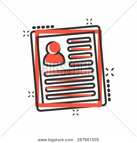 Resume Icon In Comic Style. Contract Document Vector Cartoon Illustration Pictogram. Resume Business