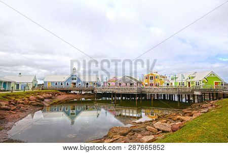 Colourful Buildings At Summerside, Prince Edward Island, Pei, Canada. Small Shops Selling Pei Souven