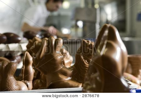 Making Chocolate Figurines In A Bakery.