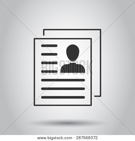Resume Icon In Flat Style. Contract Document Vector Illustration On White Background. Resume Busines