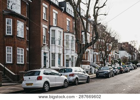 London, Uk - March 2, 2019: Row Of Typical British Terraced Houses In Hampstead, An Affluent Residen