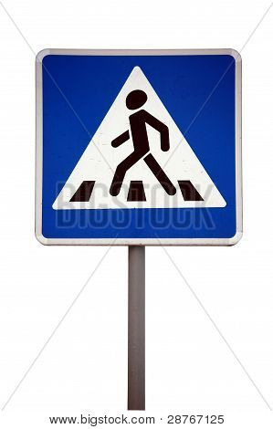 European Caution Traffic Sign   - Pedestrian Walk