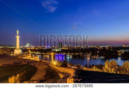 Belgrade, Serbia - September 24, 2016: Night Panorama Of Belgrade From Kalemegdan Fortress With The