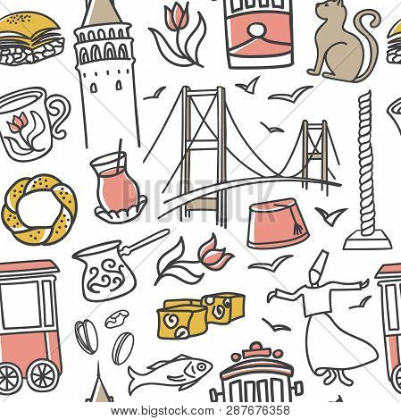 Istanbul, Turkey. Vector Seamless Pattern With Cute Hand Drawn Outline Doodles Of Turkish Symbols On
