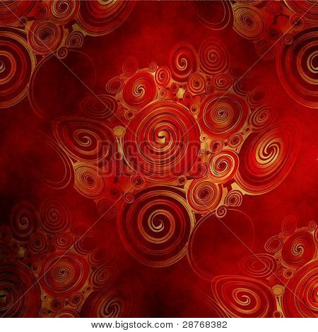 Abstract Rendered ,  Orange And Red Waves And Twirl