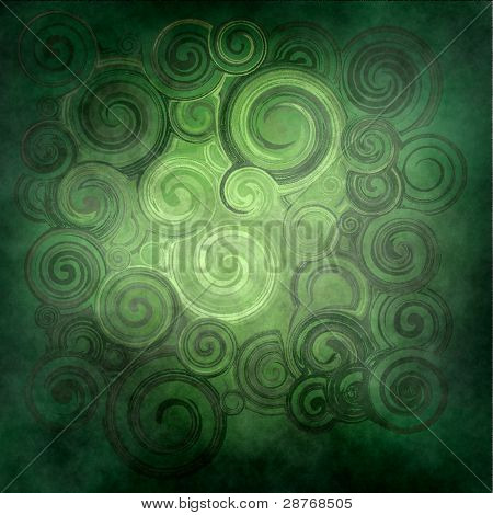 Abstract Rendered ,  Green Waves And Twirl
