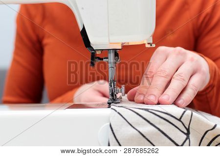 Processes Of Sewing Flax On The Sewing Machine Sew Women's Hands Sewing Machine Linum. Sewing Machin