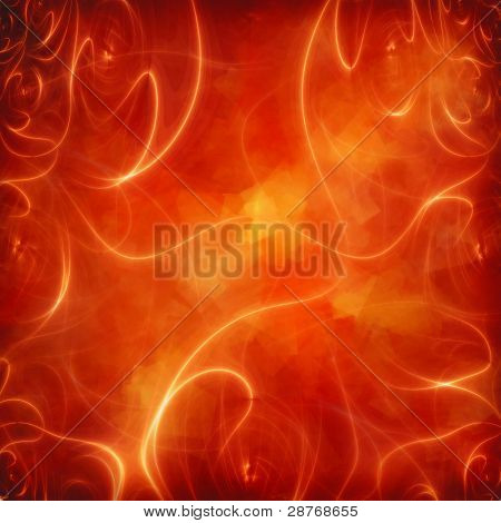 Abstract Glowing Lines On Red Background