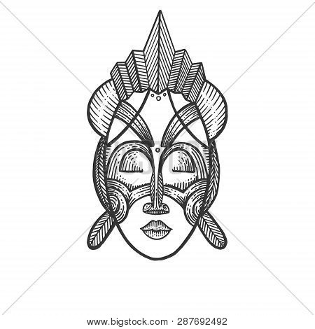 African Mask Of Savages Sketch Engraving Vector Illustration. Scratch Board Style Imitation. Hand Dr