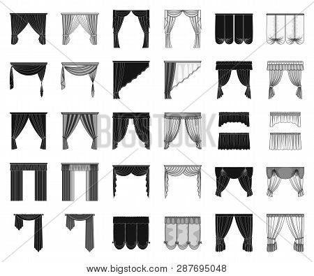 Different Kinds Of Curtains Black, Monochrome Icons In Set Collection For Design. Curtains And Lambr