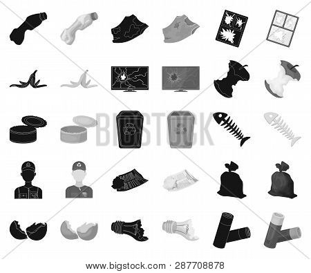 Garbage And Waste Black, Monochrome Icons In Set Collection For Design. Cleaning Garbage Vector Symb