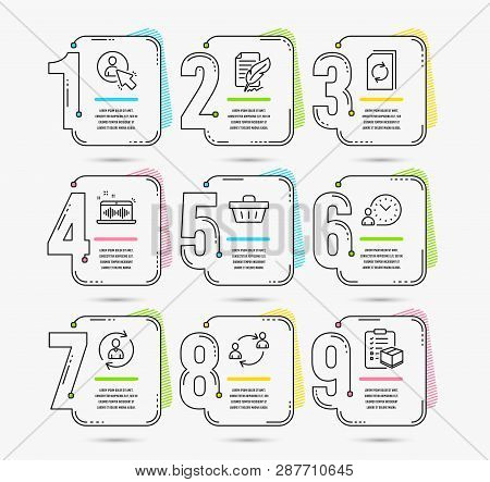 Infographic Template With Numbers 9 Options. Set Of Feather Signature, Shopping Basket And Person In