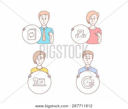 People Hand Drawn Style. Set Of Update Document, Receive File And Online Documentation Icons. 24h De