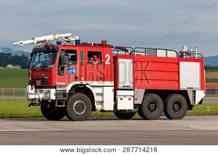 Payerne, Switzerland - August 29, 2014: Swiss Air Force Iveco Marigus Airport Fire Engine.