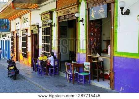 JARDIN, COLOMBIA, AUGUST 14, 2018: Trdaitional architecture in the picturesque town of Jardin, Antioquia, Colombia, South America