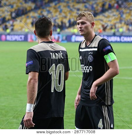Kyiv, Ukraine - August 28, 2018: Afc Ajax Players Dusan Tadic (l) And Matthijs De Ligt During The Ue