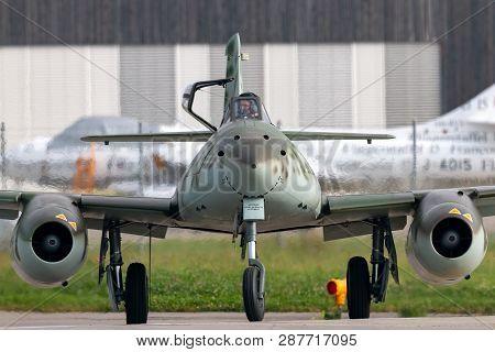 Payerne, Switzerland - September 4, 2014: Messerschmitt Me 262 Luftwaffe World War Ii Jet Fighter Ai