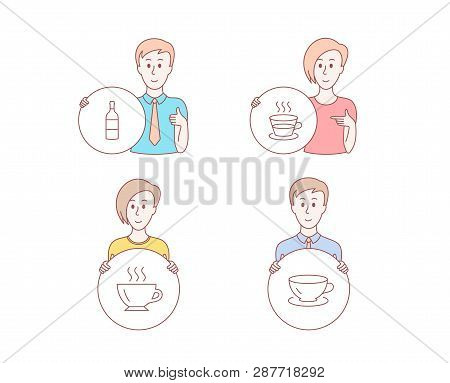 People Hand Drawn Style. Set Of Coffee, Coffee Cup And Wine Bottle Icons. Espresso Sign. Cappuccino,