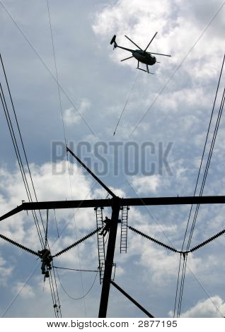 High Tension Power Workers & Helicopter: Powerworkers00034A