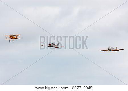 Payerne, Switzerland - August 31, 2014: Bücker Bü 131 Hb-uvm Leading Pilatus P-3 N848ad And Pilatus