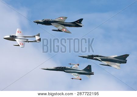 Payerne, Switzerland - September 7, 2014: Formation Of Former Swiss Air Force Jet Aircraft Comprised
