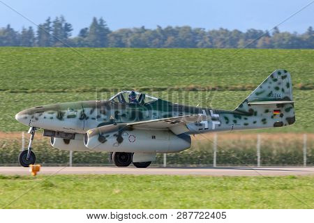 Payerne, Switzerland - September 8, 2014: Messerschmitt Me 262 Luftwaffe World War Ii Jet Fighter Ai