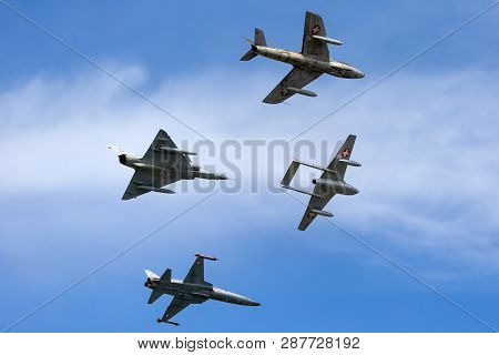 Payerne, Switzerland - August 30, 2014: Formation Of Former Swiss Air Force Jet Aircraft Comprised O